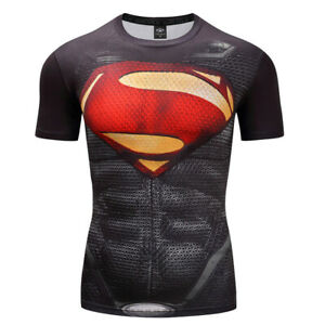 Mens Gym T shirt Superman Superhero The Punisher Marvel Compression Armour Top $9.99