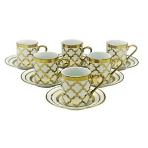 China Espresso Turkish Coffee Demitasse Set of 6 Cups Saucers Gold Tile Design