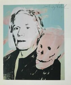 ANDY WARHOL HAND SIGNED SIGNATURE * SELF-PORTRAIT WITH SKULL *  PRINT  W C.O.A.