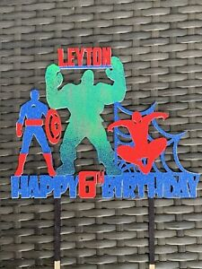 Personalised Marvel Cake Topper Set Any Age Name Spider-Man Hulk Captain America
