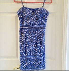Adrianna Papell Beaded Cocktail Dress Size 8 Worn Once EUC $40.00