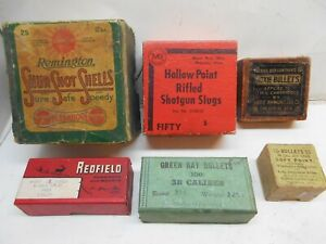 6 vintage empty 2 piece shell bullet and ring boxes Remington Winchester