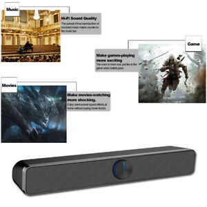 SADA USB Wired TV Sound Bar 3D Stereo Home Theater Soundbar Laptop Speaker US