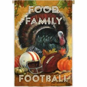 """Food Family Football 13S3511 Evergreen Suede HOUSE Flag 28"""" x 44"""""""