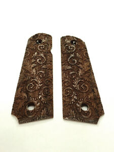Floral Scroll Walnut Browning 1911-22380 Grips Checkered Engraved Textured