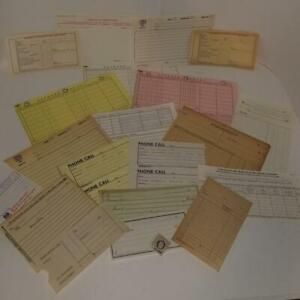20 pc ephemera lot blank office forms 1940's to 70s vintage paper art supplies O
