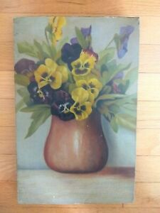 OMG! Antique Victorian OIL ON CANVAS PANSIES PAINTING~Floral Still life~no roses