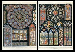 Stained Glass window 2 Antique lithographs...Larousse 1897 $40.00