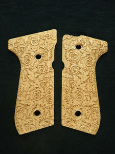 Floral Scroll Maple Beretta 92fs Grips Checkered Engraved Textured