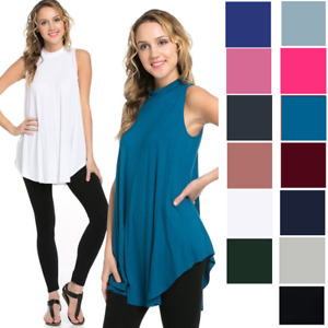 US Women's Sleeveless Mock Turtleneck Flowy Tank Summer Top Dress Knit Loose S