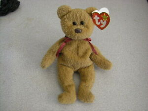 Extremely Rare! Ty Beanie 'Curly' Bear. Multiple Errors.Black Eyes. Brown Nose.