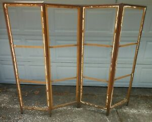 Antique Folding 4 Panel Screen Room Divider 1890 1910 Frame 61quot; H 76quot; W $320.00