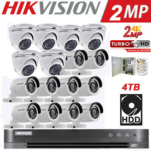 Hikvision Security System 16 CH 16 Bullet & Dome Camera 1080P 4TB Hard Disk