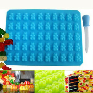 Silicone Gummy Bear Chocolate Mold Candy Maker Ice Tray Jelly Mould 50 Cavity
