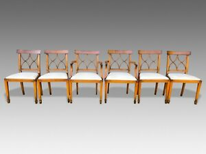 Magnificent set 6 Art deco style Bar back Yew Designer chairs French polished