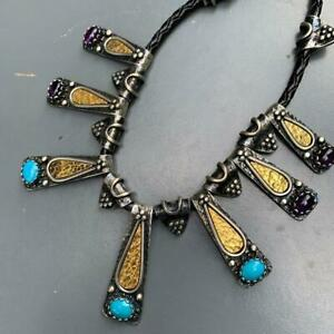 MOD Modern Signed Turkish Sterling Silver Amethyst Turquoise Bib Necklace