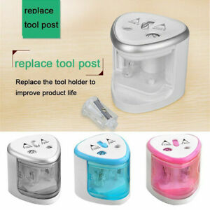 1x Electric Auto Pencil Sharpener Dual Holes Battery Operated School Student
