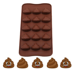15 Grids Poop Emoji Silicone Mold Chocolate Candy  Ice Cube Fondant Mold Hot QP
