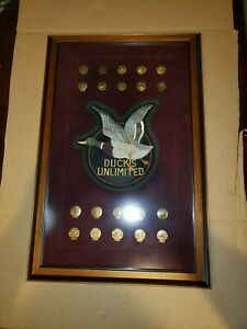 Large Ducks Unlimited Sponsor Pin Collection Professionally Framed