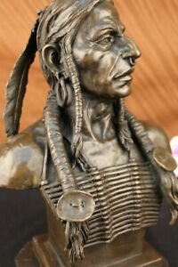 Native American Art Indian Chief Headdress Bronze Bust Sculpture Statue  Figure