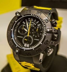 Invicta 10185 Men's Subaqua Noma III Chronograph Black & Yellow Silicone Watch