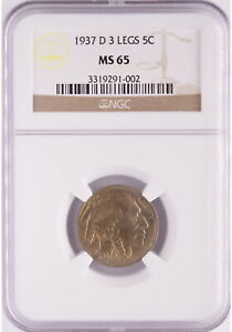 1937-D 5C 3 LEGS Buffalo Nickel NGC MS65 Pop 5626