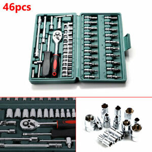 46pcs Car Ratchet Torque Wrench Kit Hand Tools 1 4 Inch Socket Set Tool With Box