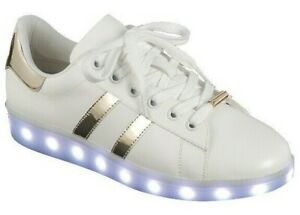 Women Fashion Led Sneakers 7 Colors Flashing Rechargeable Light Up 2 Tone Shoes