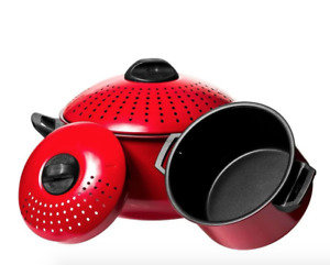 2 Pc Pasta Pot with Strainer Lid - 6 Qt & 2 Qt Red Stock Pot or Pasta Cooker