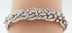 Platinum Diamond Tennis Bracelet Leaf Design 6.50 CTW 6.5