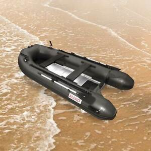 ALEKO Inflatable Fishing Boat 10.5 Feet with Aluminum Floor Black Color