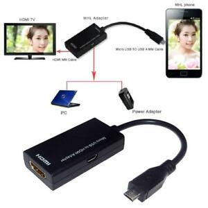 5 Pin Micro USB Adapter Cable  MHL To HDMI HDTV TV HD for Smart Cell Phone DT
