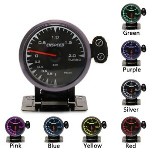 2.5'' 60mm Car Turbo Boost Gauge Pointer 7 Color LED 2 Bar Boost Pressure Meter