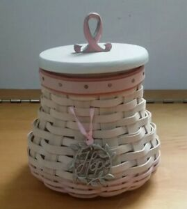 Longaberger 2009 Whitewashed Horizon of Hope Basket Combo w/ Lid Liner Protector