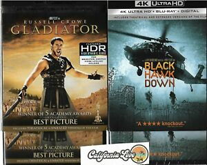 GLADIATOR + BLACK HAWK DOWN 4K ULTRA HD + BLU-RAY 4-DISC SET ✔☆MINT☆✔ NO DIGITAL