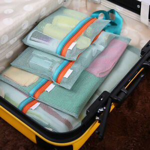 Shoes Packing Clothes Mesh Organizer Travel Luggage Storage Bag Zipper Pouch