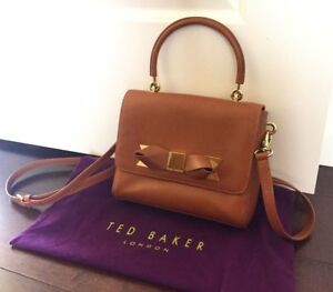 Ted Baker London Saddle Asar Leather Metal Bow Cross Body Bag Light Brown RARE