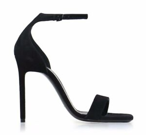 Saint Laurent Amber 105 Black Suede Ankle Strap Peep Toe Sandal Pump Heel 35.5