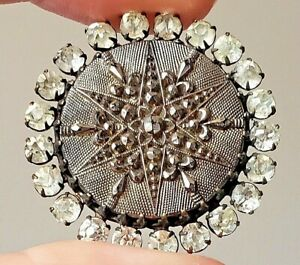 Exquisite Large Antique Silvered Lacy Black Glass Button w Sparkly Paste Border