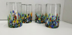 HAND BLOWN GLASS TUMBLERS HALF CONFETTI SET OF 4   **Shipping Discounts***