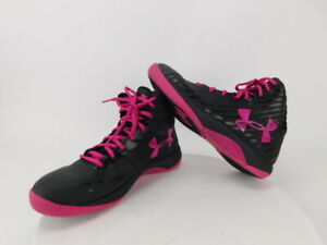WOMENS 8 UNDER ARMOUR BASKETBALL JET BLACK PINK ATHLETIC SHOES 1259035-064