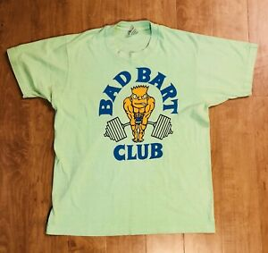 VTG 90s Bootleg Bart The Simpsons Bad Bart Club Golds Gym Shirt RARE Sz Large 🔥 $80.00