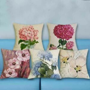 Floral Decor Coussin Home Cover Oil Pillow Linen Cushion 18#x27;#x27; Case Printed $3.16
