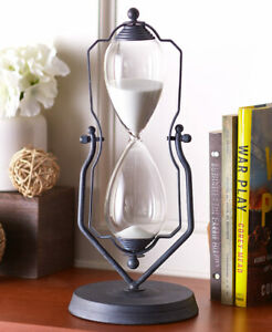 14H DECORATIVE VINTAGE LOOK HOURGLASS IN A SWIVEL STAND ONE HOUR TIMER $23.00