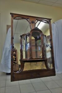19C Art Nouveau Marjorelle MirrorDisplay Matched Cabinets w Sienna Marble