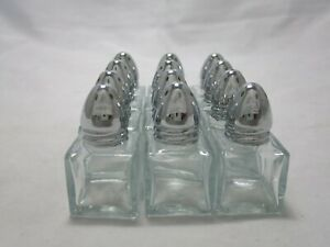 Mini Square Clear Glass Chrome Top Salt Pepper Shakers 7 Holes Set of 12