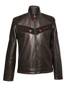 {HOT} Kiton Napoli Black Leather Jacket With  Suede Trimmed 44US54EU