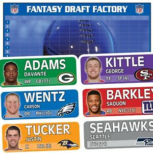 🚨 Fantasy Football Draft Kit 2019 🚨 Color Flash Labels • Standard Board