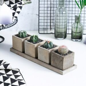 4Sets/Lot Creative Rectangle Vase Concrete Planter Mold Handmade Craft Home