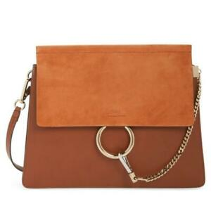 Chloé Faye Medium Classic Tabacco Leather and Suede Shoulder Bag